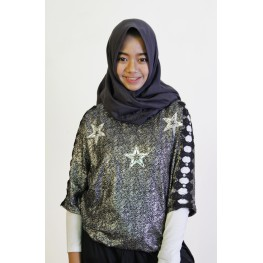 Blouse glitter star black