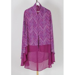 Long khimar purple motif